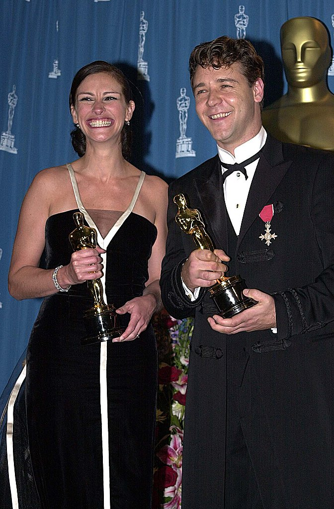 Julia Roberts' grin couldn't be contained after she won the Best Actress Academy Award for her role in Erin Brockovich; she posed backstage with an equally smiley Russell Crowe in 2001.