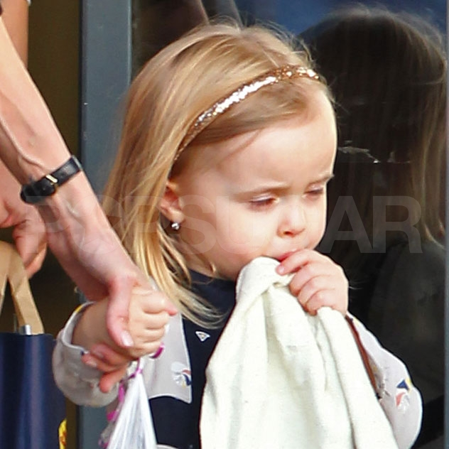 Vivienne Jolie-Pitt sucked her thumb as she left the Ujbuda Center in Budapest, Hungary.