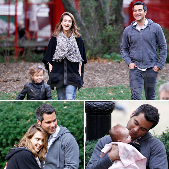 Jessica Alba and Cash Warren Cuddle Up During a Family Park Day
