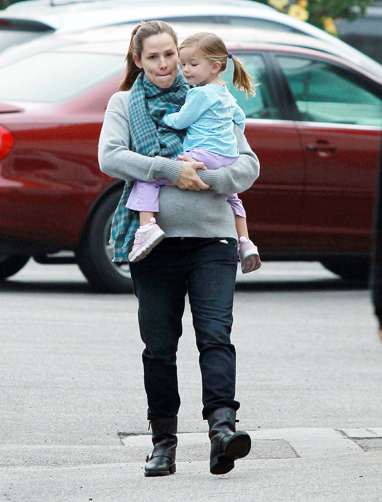 Jennifer Garner wore biker boots during her morning out with Seraphina Affleck.
