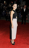 Keira Knightley showed off her dress on the red carpet in London.