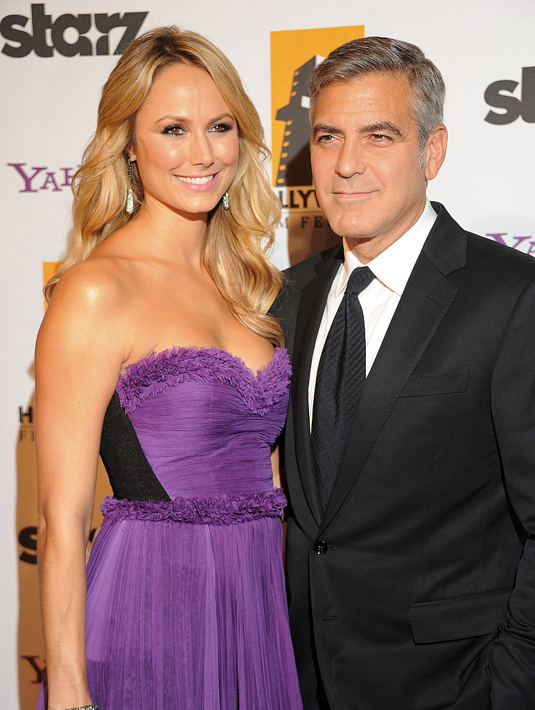 Stacy Keibler and George Clooney stayed close at the Hollywood Film Awards.