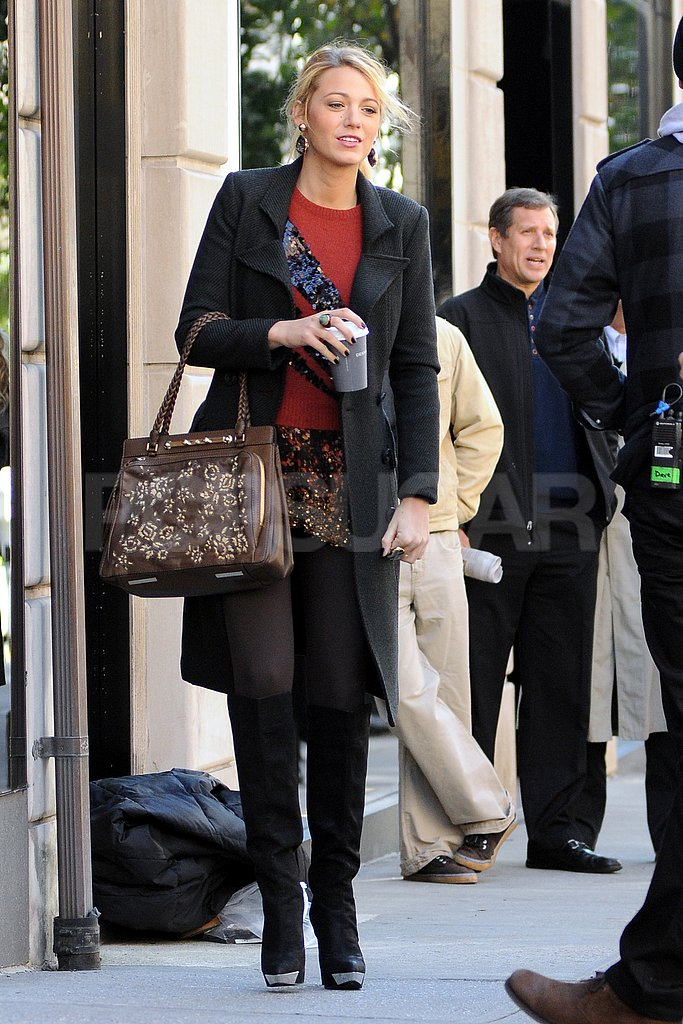 Blake Lively walked in heels to shoot a scene.