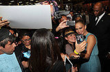 Jennifer Lopez was greeted by fans.