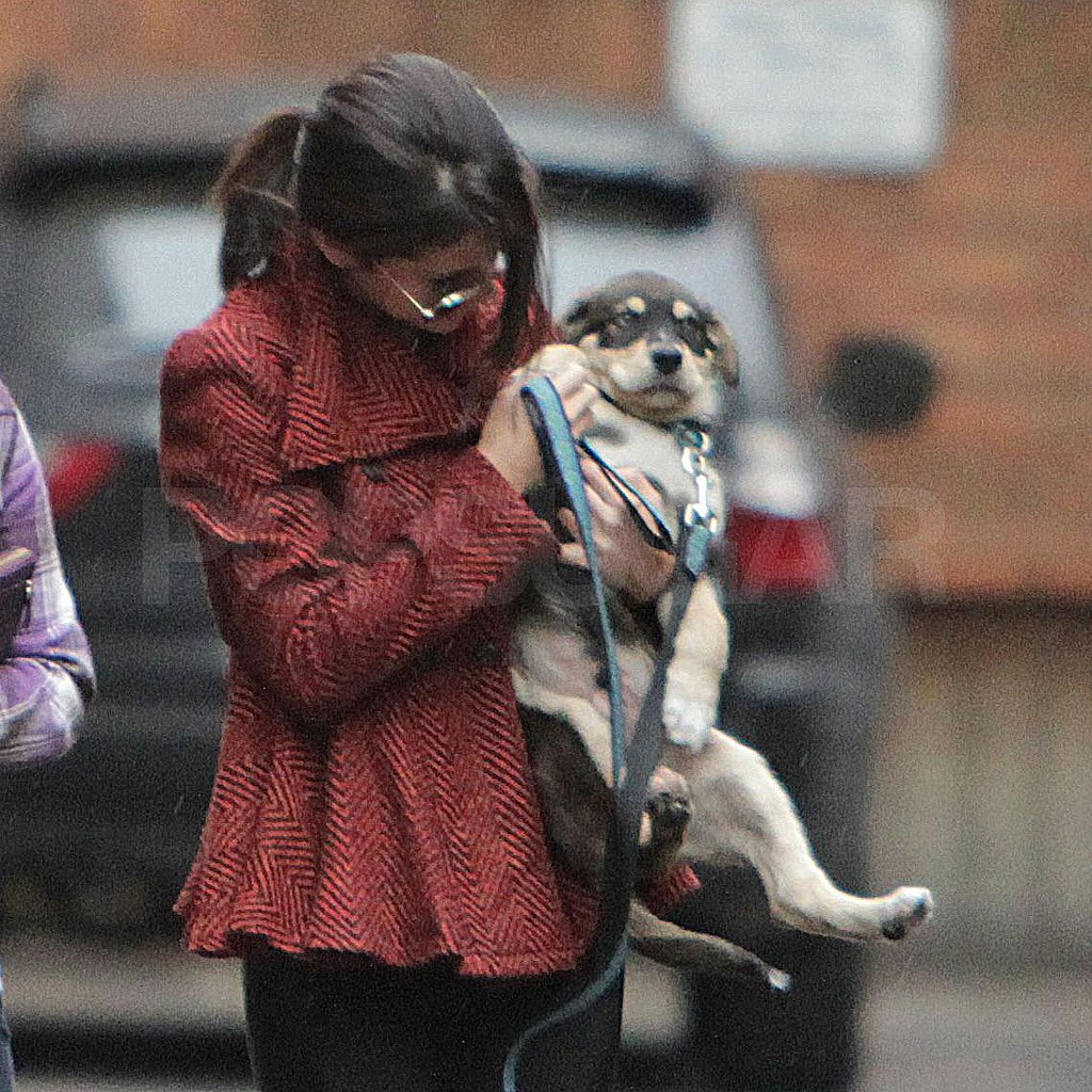 Selena picked Baylor up during their walk.