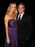 George Clooney posed with Stacy Keibler, who wore a purple Maria Lucia Hohan gown.