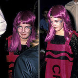 Drew Barrymore is too-cute dressed as a pink Crayon at a Halloween party in 1984.