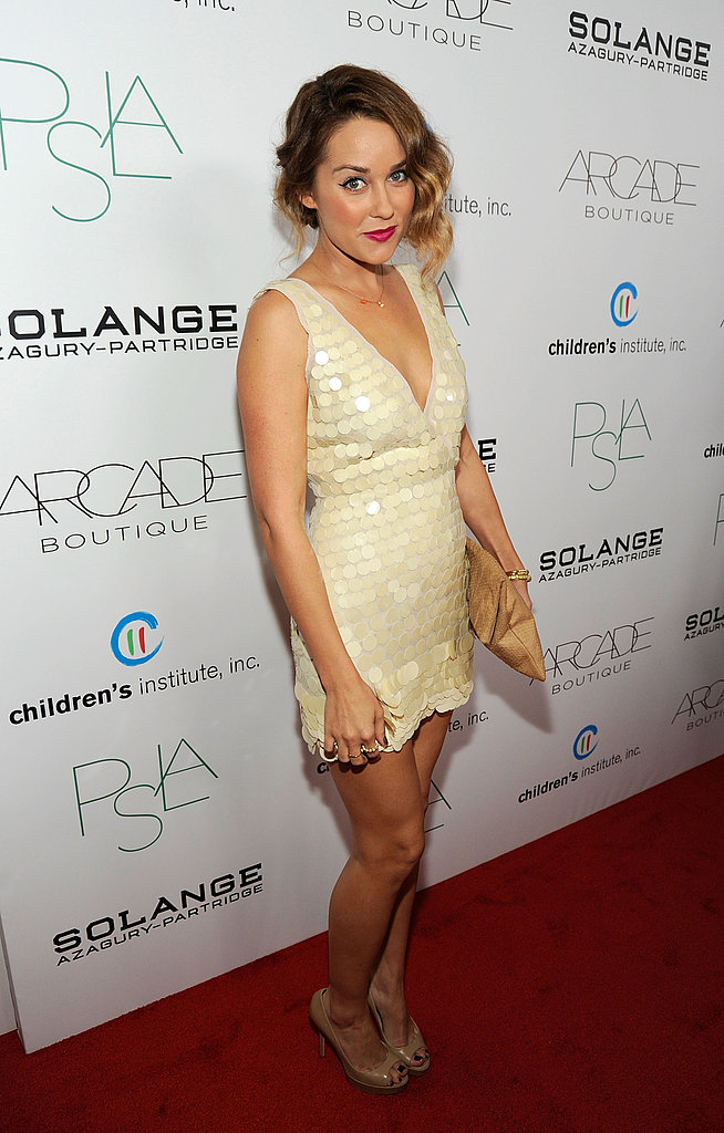 Lauren Conrad in gold dress.
