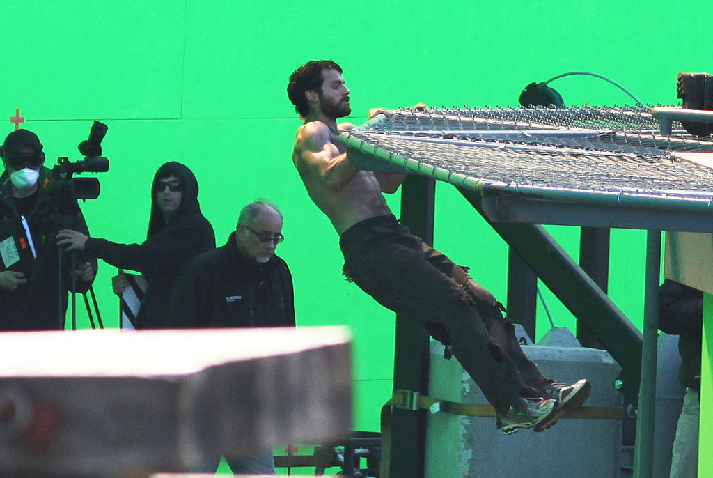 Henry Cavill filmed a scene in front of a green screen.