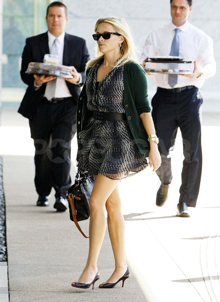 Reese Witherspoon in green sweater in LA.