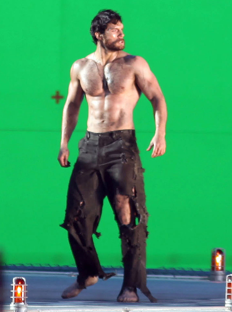 Henry Cavill was shirtless while filming scenes for Man of Steel.