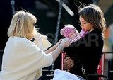 Jessica Alba cuddled Haven Warren in a NYC park.