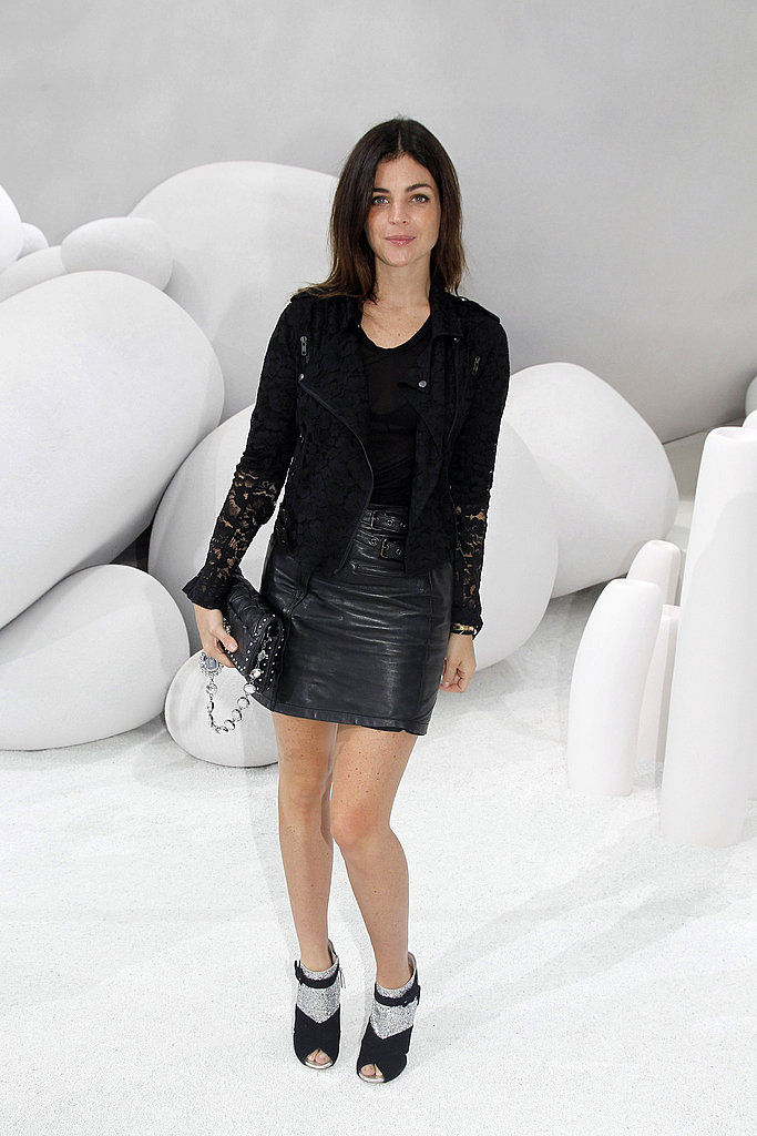 You can count on Julia Restoin-Roitfeld for her sexy edge — lace panels and leather play perfectly together. Her glittery Miu Miu booties are just icing on the cake.