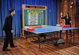 Salma Hayek took Jimmy Fallon on during a game of beer pong.