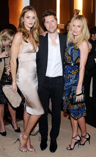 Kate Bosworth at the Burberry party with Christopher Bailey and Rosie Huntington-Whiteley.