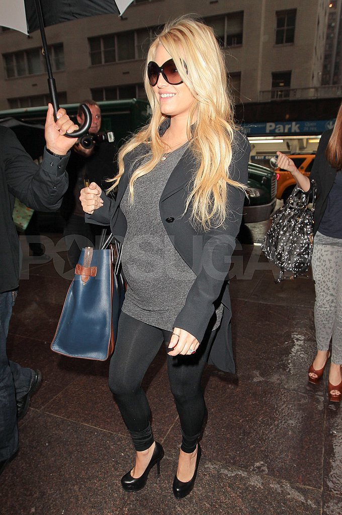 Maybe pregnant Jessica Simpson headed to a meeting in NYC.