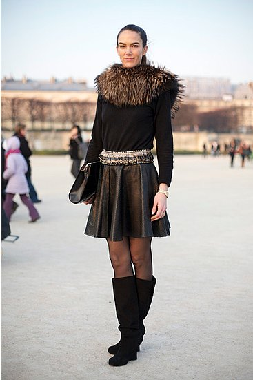 Fur and baroque-tinged jewels make this perforated skirt — spotted during Fall 2011 Paris Fashion Week — look elegant.  Shop the look:  Photo Courtesy  of Phil Oh