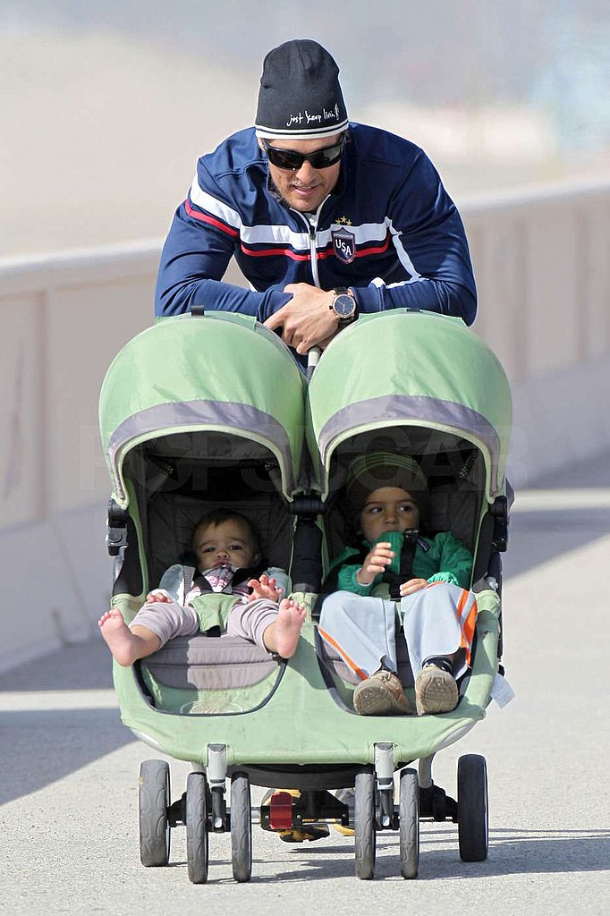 Matthew McConaughey took Vida and Levi for a Malibu stroll in February 2011.