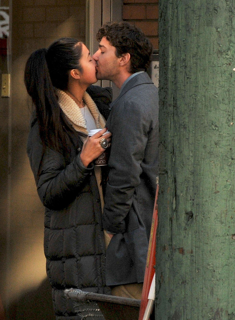 Shia LaBeouf and Karolyn Pho kissing.
