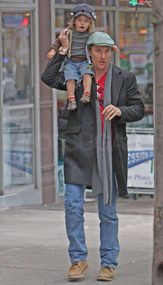 Little Levi got a lift from Matthew McConaughey when they visited NYC's Central Park in March 2010.
