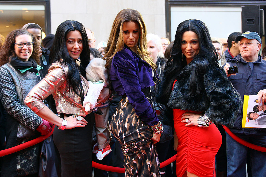 At Weekend Today's Halloween celebration, Melissa Francis dresses as Kourtney Kardashian, Jenna Wolfe as Khloe Kardashian, and Amy Roebuck as Kim Kardashian.