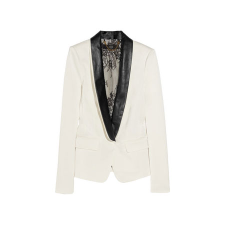 Pull out all the stops for a night out with this leather-trim tuxedo jacket. Tibi Satin-Twill Tuxedo Jacket (approx $686)