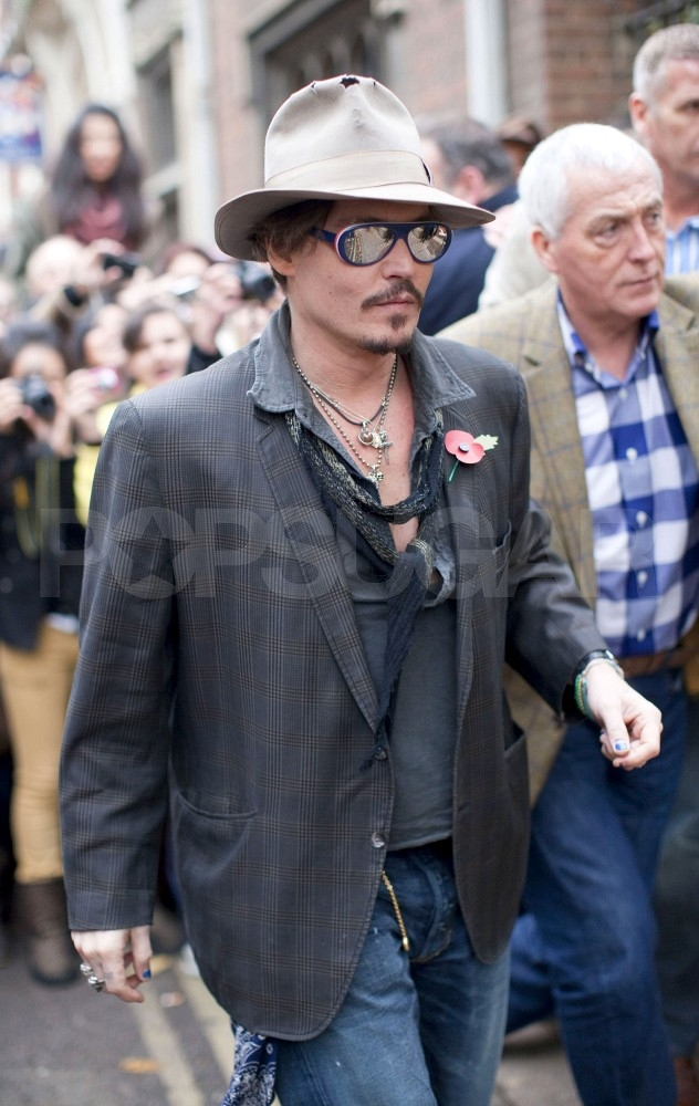 Johnny Depp arrived at the Oxford Union.