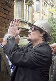 Johnny Depp greeted students outside the Oxford Union.