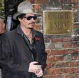Johnny Depp in his signature garb outside the Oxford Union.