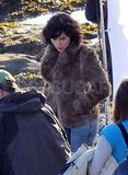 Scarlett Johansson on the set of Under the Skin.