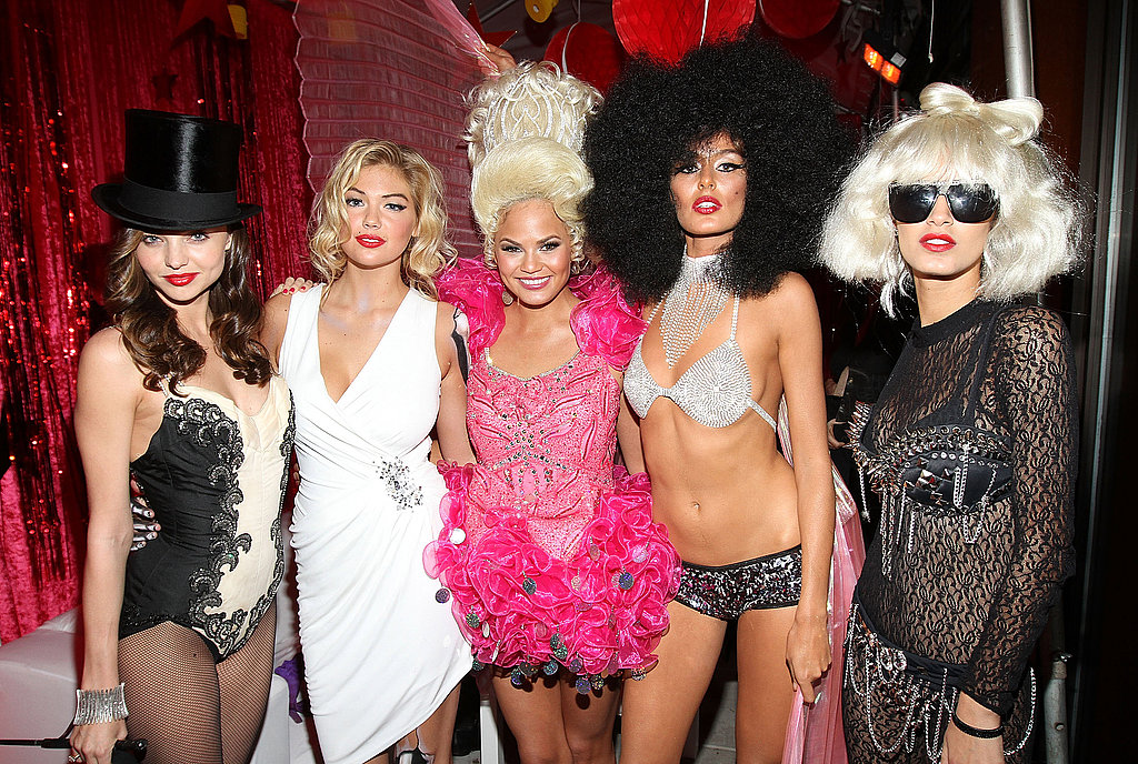 Miranda Kerr, Kate Upton, Christine Teigen, Nicole Trunfino, and Jaslene Gonzalez celebrated Halloween in NYC.