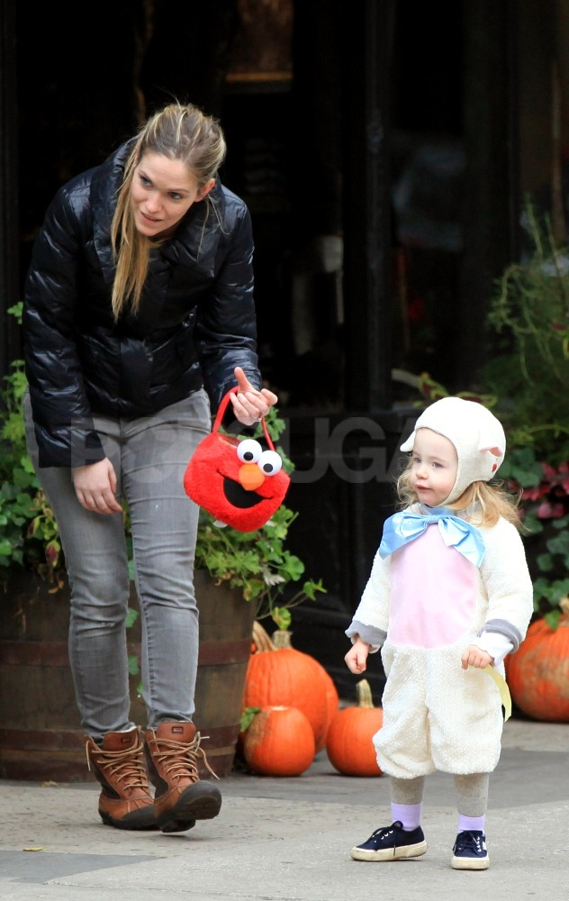 Loretta Broderick out with her nanny on Halloween.