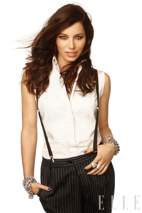 Jessica Biel wore menswear in Elle.