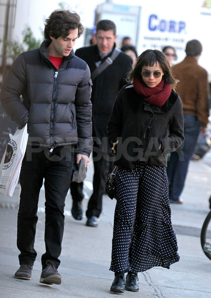 Penn Badgley talked to Zoe Kravitz in NYC.
