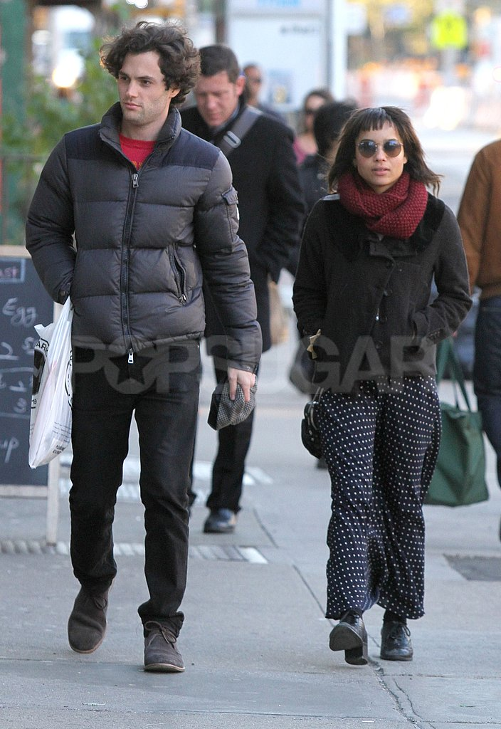 Penn Badgley and Zoe Kravitz went for a walk together in NYC.