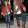 Pregnant Beyonc Wearing Leopard Print and Red November 2011