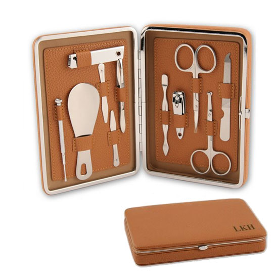 The problem with manicure sets is that they can either look too feminine or masculine — or even a bit chintzy. Such is not the case with this streamlined, tan-colored Portable Leather Manicure Set ($70), which can be personalized up to five characters.