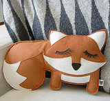 Grayson the Fox Felt Applique Plush Doll Pillow