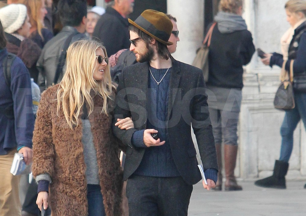 Sienna Miller and Tom Sturridge kept eye contact while walking and talking.