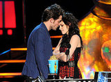 Robert Pattinson and Kristen Stewart almost kissed for the cameras on stage at the May 2009 MTV Movie Awards in LA.