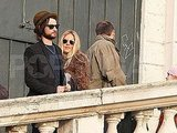 Sienna Miller hugged Tom Sturridge.