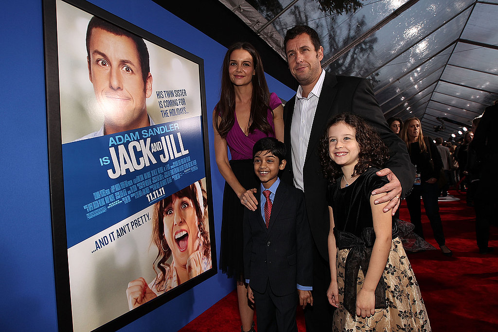 Adam Sandler and Katie Holmes posed with their on-screen children, Rohan Chand and Elodie Tougne.
