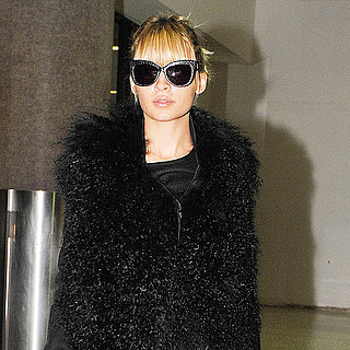Nicole Richie in Fur Vest at LAX Pictures