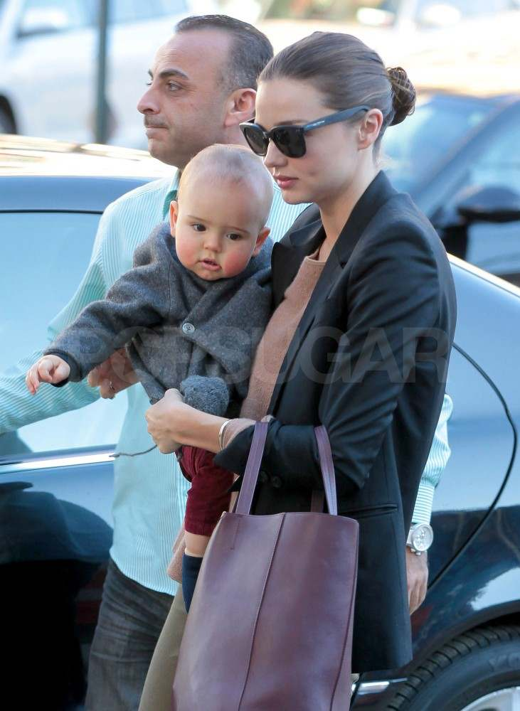 Miranda Kerr out in NYC with Flynn Bloom.