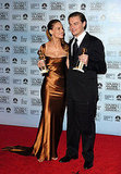 Leonardo DiCaprio won the best actor Golden Globe award in 2005 for his role in The Aviator and smiled for photos backstage with best actress winner Hilary Swank.