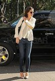 Katie Holmes wore chic sunglasses on the bright Fall day.
