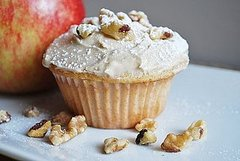 Apple Walnut Muffins with Maple Cream Cheese Icing