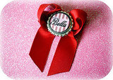 "Red Twilight inspired ""Call me Bella"" Bottle Cap Bow, $4"