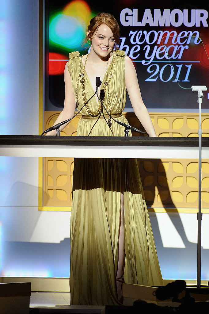 Emma Stone presented at the 2011 Glamour Women of the Year Awards.