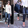 Katie Holmes Wearing a White Blazer in NYC